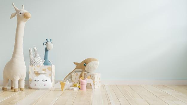 Maqueta de pared azul en la habitación de los niños representación 3d