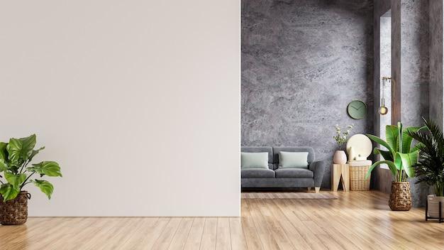 Maqueta de pared blanca en casa estilo loft con sofá y accesorios en la habitación. representación 3d.