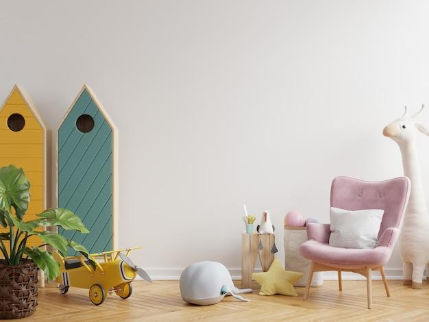 Maqueta de pared en la habitación de los niños en fondo de pared de color blanco claro representación 3d