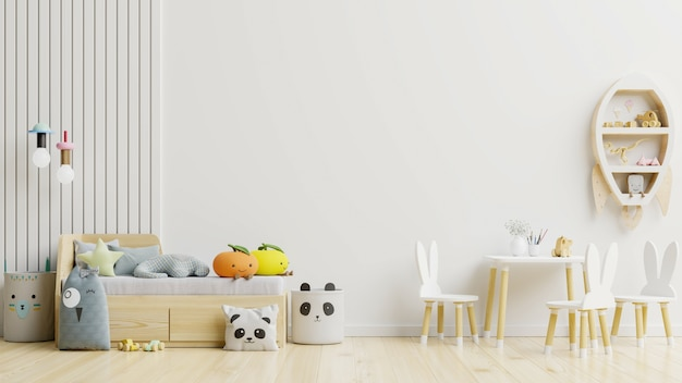 Maqueta de pared en la habitación de los niños con juego de sillas / fondo de colores blanco de pared representación 3d