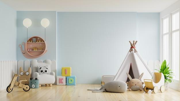 Maqueta de pared en la habitación de los niños en la pared azul claro representación 3d
