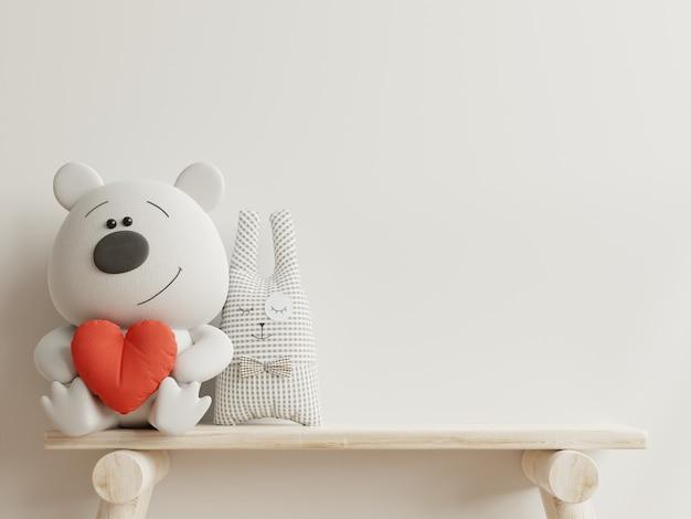 Maqueta de pared en la habitación de los niños en la pared de fondo de colores blancos. representación 3d