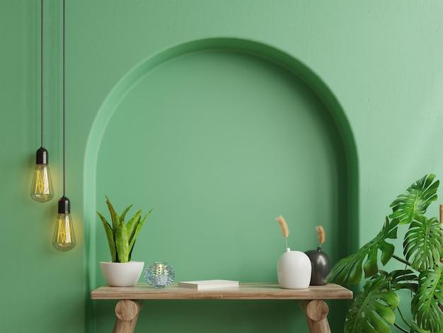 Maqueta de pared interior, pared verde y mesa de madera representación 3d
