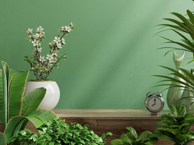 Maqueta de pared interior con planta, pared verde y estante representación 3d