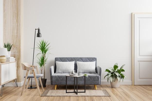 Maqueta de pared interior de sala de estar con sofá, sillón y plantas sobre fondo de pared blanca vacía. representación 3d