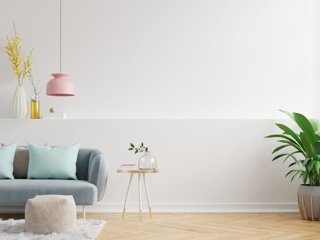 La maqueta de la pared interior de la sala de estar tiene sofá y decoración, representación 3d