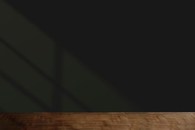 Maqueta de pared negra con piso de madera