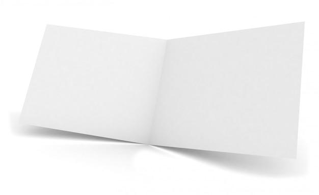 Maqueta plegable de folleto abierto en blanco