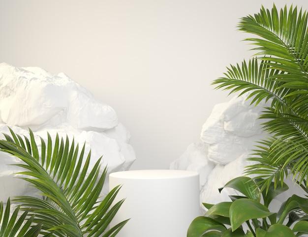 Maqueta podio blanco con plantas tropicales verdes y fondo de roca 3d render