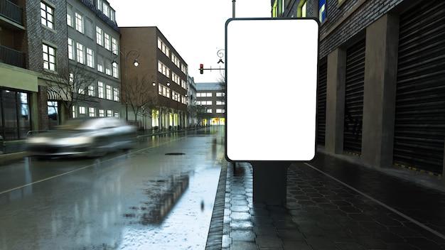 Maqueta de póster en la calle de noche
