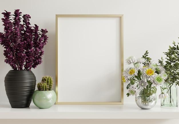 Maqueta de póster interior con marco de fotos dorado vertical en el fondo interior de una casa, renderizado 3d
