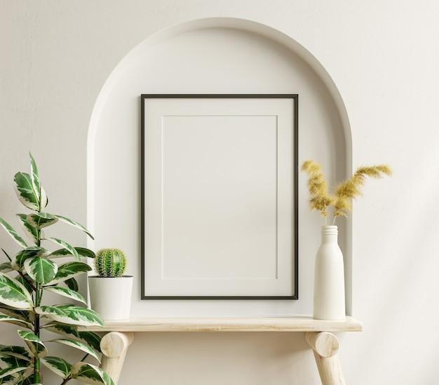 Maqueta de póster interior con marco negro vertical en el fondo interior de una casa, renderizado 3d