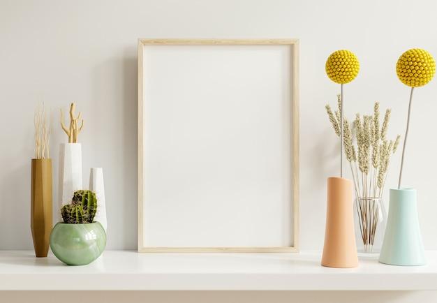 Maqueta de póster con marco de madera vertical en el fondo interior de una casa, renderizado 3d