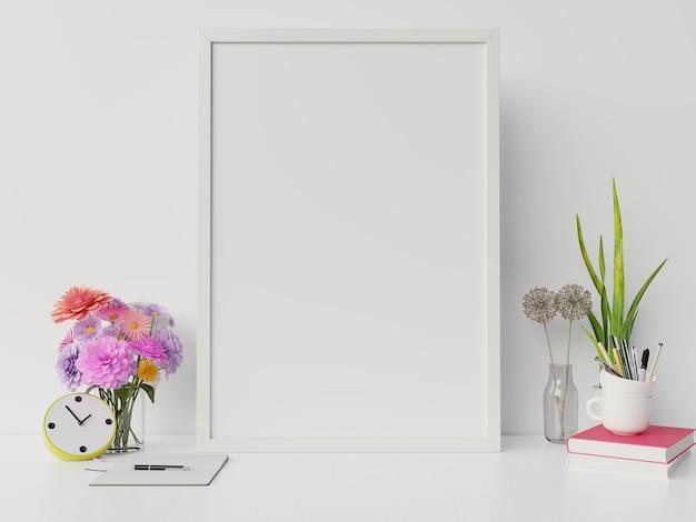 La maqueta del póster con marco vertical y derecha / izquierda tiene libro, fondo de pared blanca con flores, renderizado 3d