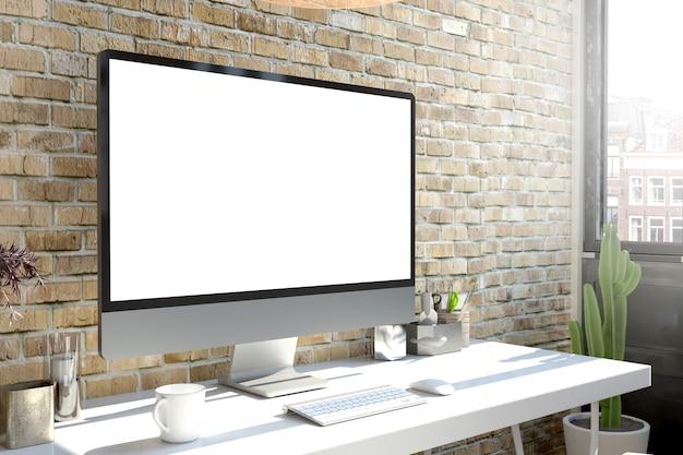 Maqueta de renderizado 3d de computadora en escritorio