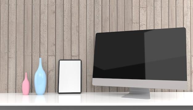 Maqueta de renderizado 3d de computadora portátil, computadora de escritorio, móvil y tableta .3d ilustración
