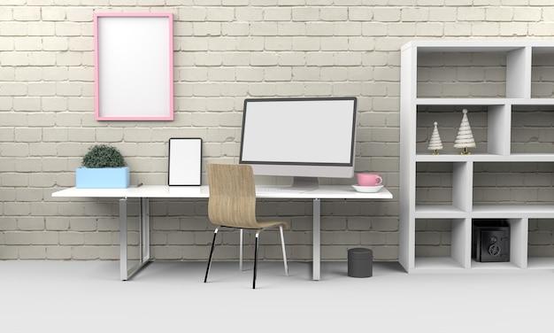 Maqueta de renderizado 3d de computadora y tableta .3d ilustración