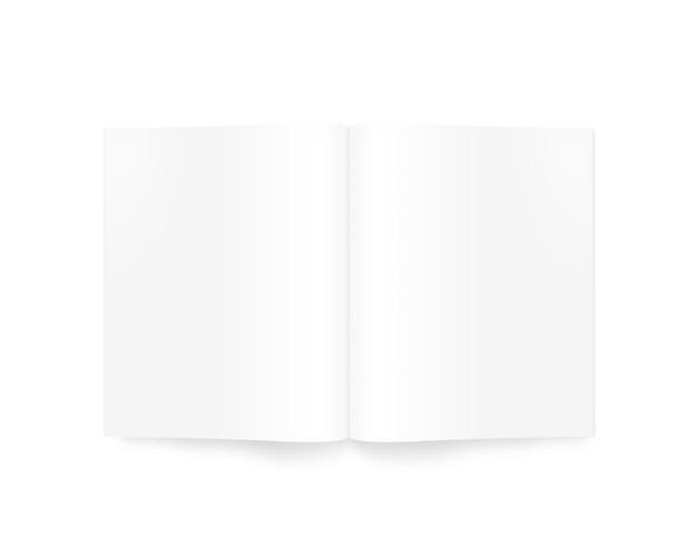 Maqueta de revista abierta en blanco blanco, vista superior, aislada
