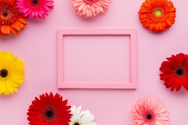 Maqueta rosa enmarcada con flores de gerbera
