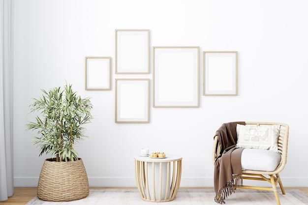 Maqueta de sala de estar de estilo boho con marcos de madera.