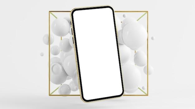 Maqueta de smartphone dorado con render 3d de fondo surrealista de burbujas
