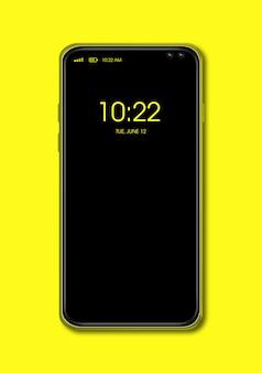 Maqueta de smartphone negro de pantalla completa aislada en amarillo.
