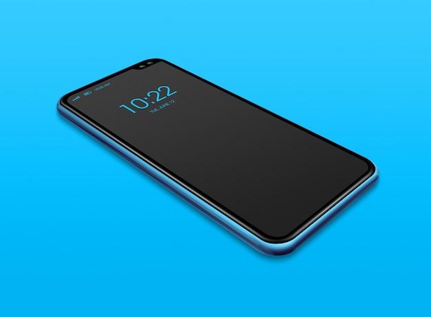 Maqueta de smartphone negro de pantalla completa aislada en azul. render 3d