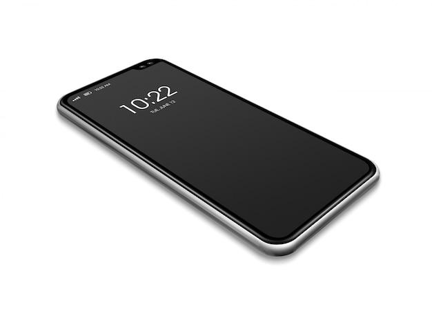 Maqueta de smartphone negro de pantalla completa aislada en blanco. render 3d