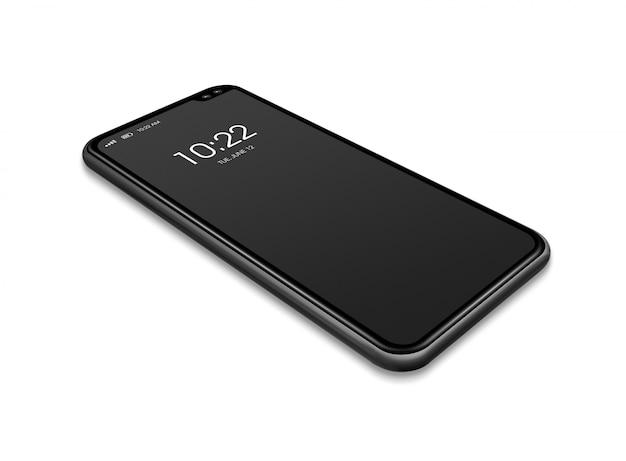 Maqueta de smartphone negro de pantalla completa aislada en blanco.