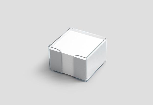 Maqueta de soporte de plástico de cubo de papel de nota blanca en blanco
