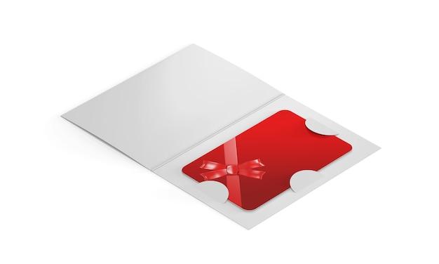 Maqueta de tarjeta de plástico dentro del porta folletos de papel