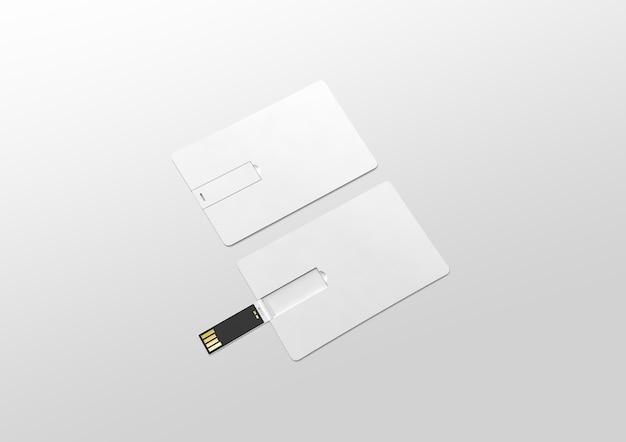 Maqueta de tarjeta usb de oblea de plástico blanco en blanco acostado, abierto y cerrado