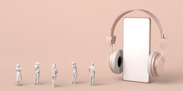 Maqueta de teléfono inteligente con auriculares y gente mirando espacio de copia de ilustración 3d