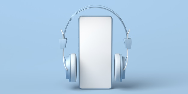 Maqueta de teléfono inteligente con auriculares ilustración 3d