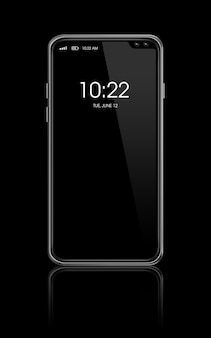 Maqueta de teléfono inteligente en blanco de pantalla completa aislada en negro. render 3d