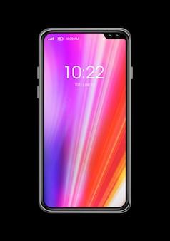 Maqueta de teléfono inteligente colorida de pantalla completa aislada en negro. render 3d