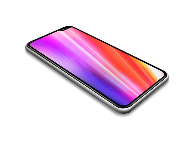 Maqueta de teléfono inteligente colorido de pantalla completa aislado en blanco.