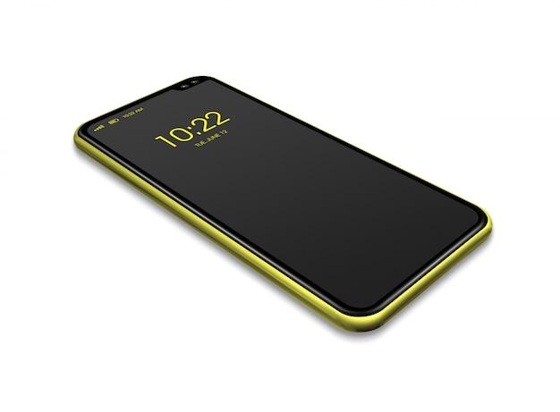 Maqueta de teléfono inteligente negro y amarillo de pantalla completa aislado en blanco. render 3d