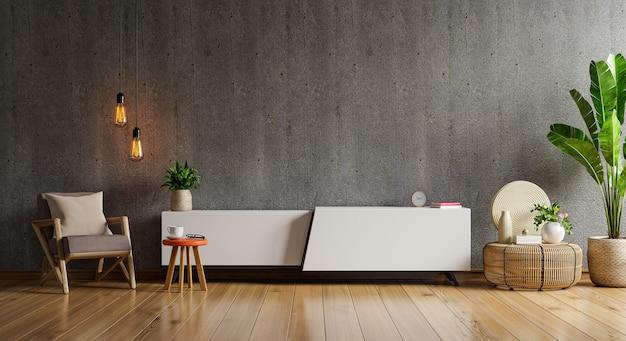 Maqueta de un televisor montado en la pared en una habitación de cemento con una pared de madera