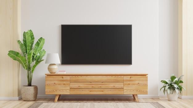 Maqueta de un televisor montado en la pared de una sala de estar con una pared blanca. representación 3d.