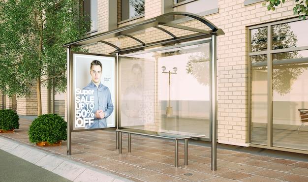 Maqueta de venta de moda de cartel de parada de autobús representación 3d
