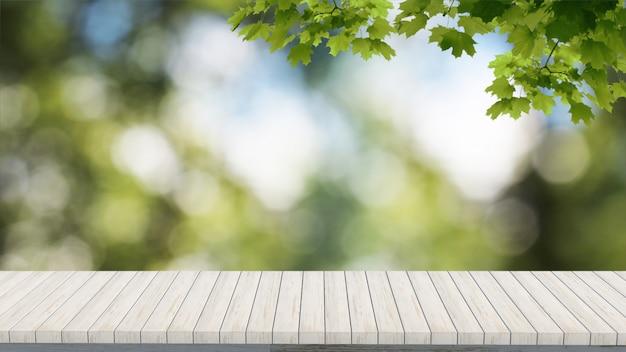 Maqueta de verano verde borrosa render 3d mesa de madera mirando el paisaje del árbol