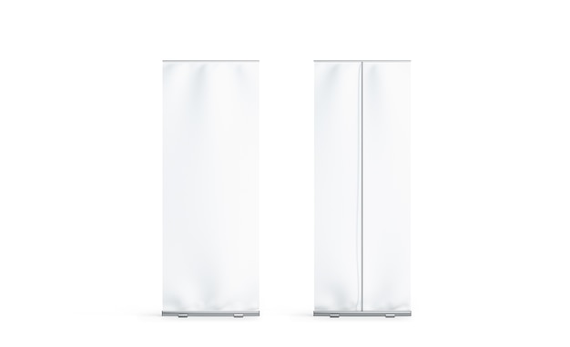 Maqueta de visualización de vista lateral frontal y posterior de banner enrollable blanco en blanco, aislado