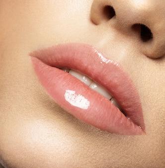 Maquillaje de labios natural perfecto. cerrar foto macro con hermosa boca femenina. labios carnosos y regordetes. piel limpia perfecta, maquillaje de labios ligero y fresco.