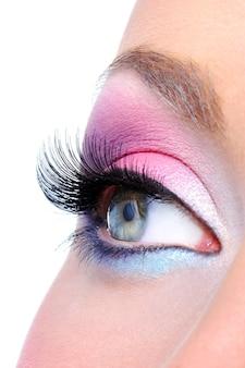 Maquillaje de ojos con colores brillantes saturetad - macro shot