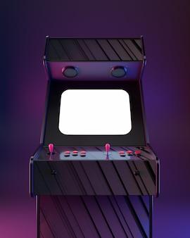 ¡máquina arcade de póster, estilo onda retro!