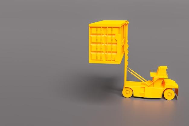 Máquina elevadora de contenedores mínima sobre fondo gris, representación de ilustración 3d