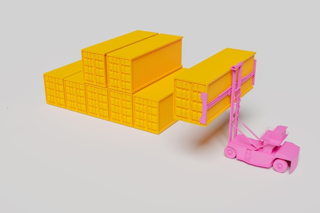 Máquina elevadora de contenedores mínima sobre fondo rosa, representación de ilustración 3d