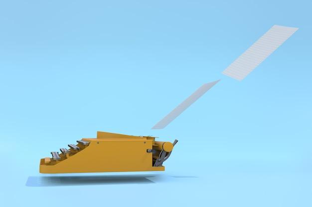 Máquina de escribir amarilla y papel flotando sobre un fondo azul pastel. concepto mínimo.
