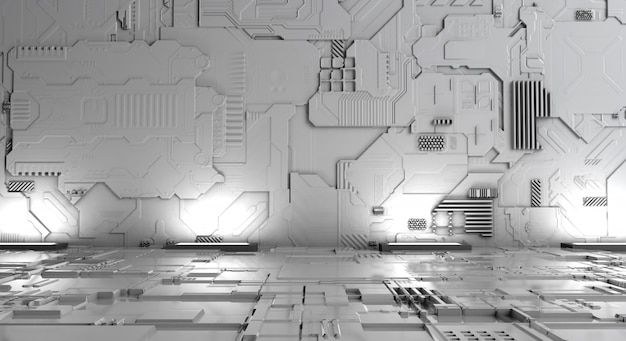 Máquina futurista del fondo blanco abstracto